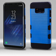 Military Grade Certified TUFF Trooper Dual Layer Hybrid Armor Case for Samsung Galaxy S8 - Blue