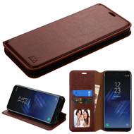 Book-Style Leather Folio Case for Samsung Galaxy S8 - Brown