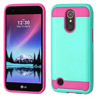 Brushed Hybrid Armor Case for LG K20 Plus / K20 V / K10 (2017) / Harmony - Teal Green Hot Pink
