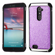 Tough Hybrid Case with Glitter Backing for ZTE Zmax Pro - Purple