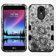 Military Grade Certified TUFF Image Hybrid Armor Case for LG K10 (2017) / K20 Plus - Leaf Clover Black
