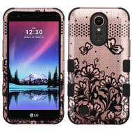 Military Grade Certified TUFF Image Hybrid Armor Case for LG K10 (2017) / K20 Plus - Lace Flowers Rose Gold