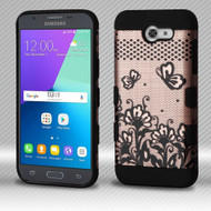 Military Grade Certified TUFF Trooper Dual Layer Hybrid Armor Case for Samsung Galaxy J3 Emerge - Lace Flowers Rose Gold