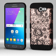 Military Grade Certified TUFF Trooper Dual Layer Hybrid Armor Case for Samsung Galaxy J3 Emerge - Leaf Clover Rose Gold