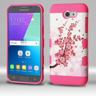 Military Grade Certified TUFF Trooper Dual Layer Hybrid Armor Case for Samsung Galaxy J3 Emerge - Spring Flowers