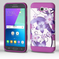 Military Grade Certified TUFF Trooper Dual Layer Hybrid Armor Case for Samsung Galaxy J3 Emerge - Purple Hibiscus Flower