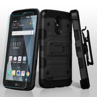 Military Grade Storm Tank Holster Case + Shatter-Proof Screen Protector for LG Stylo 3 / Stylo 3 Plus - Black