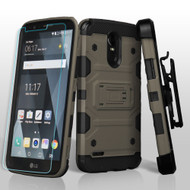 Military Grade Storm Tank Holster Case + Shatter-Proof Screen Protector for LG Stylo 3 / Stylo 3 Plus - Grey