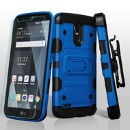 Military Grade Certified Storm Tank Hybrid Case with Holster and Shatter-Proof Screen Protector for LG Stylo 3 - Blue