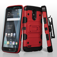 *SALE* Military Grade Storm Tank Holster Case + Shatter-Proof Screen Protector for LG Stylo 3 / Stylo 3 Plus - Red
