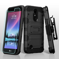Military Grade Certified Storm Tank Hybrid Case with Holster and Screen Protector for LG K10 (2017) / K20 Plus - Black