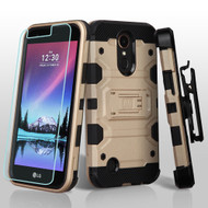 *SALE* Military Grade Storm Tank Case + Holster + Screen Protector for LG K20 Plus / K20 V / K10 (2017) / Harmony - Gold