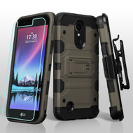 Military Grade Certified Storm Tank Hybrid Case with Holster and Screen Protector for LG K10 (2017) / K20 Plus - Grey