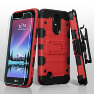 Military Grade Storm Tank Hybrid Case + Holster + Screen Protector for LG K20 Plus / K20 V / K10 (2017) / Harmony - Red