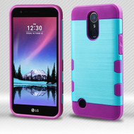 Military Grade Certified TUFF Trooper Dual Layer Hybrid Armor Case for LG K10 (2017) / K20 Plus - Baby Blue Purple