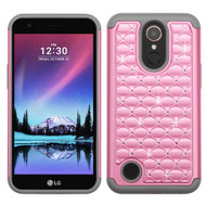 TotalDefense Diamond Hybrid Case for LG K10 (2017) / K20 Plus - Pearl Pink Grey