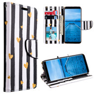 Designer Graphic Leather Wallet Stand Case for Samsung Galaxy S8 - Chic Hearts
