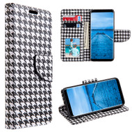 *SALE* Designer Graphic Leather Wallet Stand Case for Samsung Galaxy S8 Plus - Houndstooth