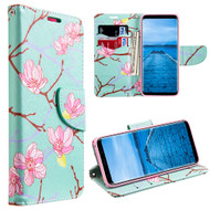 Designer Graphic Leather Wallet Stand Case for Samsung Galaxy S8 Plus - Japanese Blossom