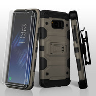 Military Grade Certified Storm Tank Hybrid Case with Holster and Screen Protector for Samsung Galaxy S8 Plus - Grey