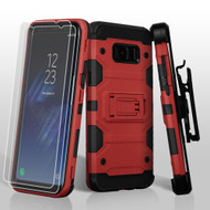 Military Grade Certified Storm Tank Hybrid Case with Holster and Screen Protector for Samsung Galaxy S8 Plus - Red