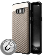 Carbon Metallic Luxury Fusion Case with Magnetic Back Plate for Samsung Galaxy S8 Plus - Grey