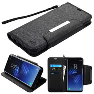 Designer Leather Wallet Shell Case for Samsung Galaxy S8 Plus - Black