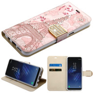 Luxury Bling Portfolio Leather Wallet Case for Samsung Galaxy S8 Plus - Eiffel Tower