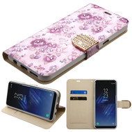 Luxury Bling Portfolio Leather Wallet Case for Samsung Galaxy S8 Plus - Purple Flowers