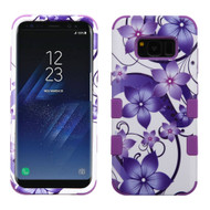 Military Grade Certified TUFF Image Hybrid Armor Case for Samsung Galaxy S8 Plus - Purple Hibiscus Flower Romance