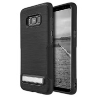 Premium Brushed TPU Case with Kickstand for Samsung Galaxy S8 Plus - Black