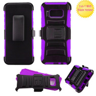 Advanced Armor Hybrid Kickstand Case with Holster for Samsung Galaxy S8 Plus - Black Purple