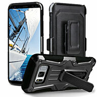Heavy Duty Dual Layer Hybrid Armor Case with Holster for Samsung Galaxy S8 Plus - Black