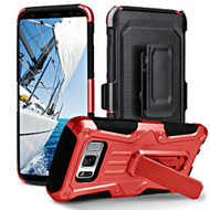 Heavy Duty Dual Layer Hybrid Armor Case with Holster for Samsung Galaxy S8 Plus - Red