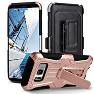 Heavy Duty Dual Layer Hybrid Armor Case with Holster for Samsung Galaxy S8 Plus - Rose Gold