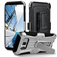 *Sale* Heavy Duty Dual Layer Hybrid Armor Case with Holster for Samsung Galaxy S8 Plus - Silver