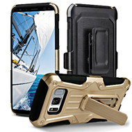 Heavy Duty Dual Layer Hybrid Armor Case with Holster for Samsung Galaxy S8 Plus - Gold