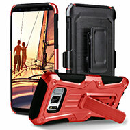 Heavy Duty Dual Layer Hybrid Armor Case with Holster for Samsung Galaxy S8 - Red