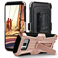 *Sale* Heavy Duty Dual Layer Hybrid Armor Case with Holster for Samsung Galaxy S8 - Rose Gold