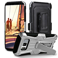 *Sale* Heavy Duty Dual Layer Hybrid Armor Case with Holster for Samsung Galaxy S8 - Silver