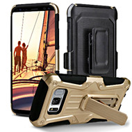 Heavy Duty Dual Layer Hybrid Armor Case with Holster for Samsung Galaxy S8 - Gold