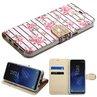 Luxury Bling Portfolio Leather Wallet Case for Samsung Galaxy S8 - Pink Fresh Roses