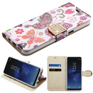 Luxury Bling Portfolio Leather Wallet Case for Samsung Galaxy S8 - Butterfly Wonderland