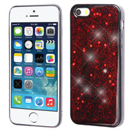 Luxury Bling Glitter Krystal Gel Case for iPhone SE / 5S / 5 - Starry Sky Red