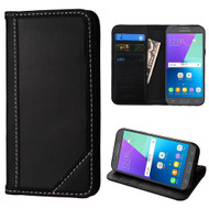 Mybat Genuine Leather Wallet Case for Samsung Galaxy J3 (2017) / J3 Emerge / J3 Prime / Amp Prime 2 / Sol 2 - Black