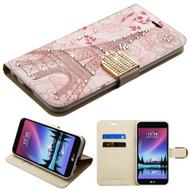 Luxury Bling Portfolio Leather Wallet Case for LG K20 Plus / K20 V / K10 (2017) / Harmony - Eiffel Tower
