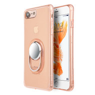 Shockproof Crystal TPU Case with Ring Holder Stand for iPhone 8 / 7 - Rose Gold