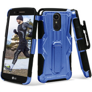 Heavy Duty Dual Layer Hybrid Armor Case with Holster for LG Stylo 3 / Stylo 3 Plus - Blue