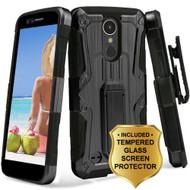 Hybrid Armor Case + Holster + Tempered Glass Screen Protector for LG K20 Plus / K20 V / K10 (2017) / Harmony - Black