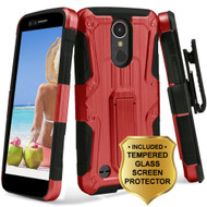 *SALE* Hybrid Armor Case + Holster + Tempered Glass Protector for LG K20 Plus / K20 V / K10 (2017) / Harmony - Red
